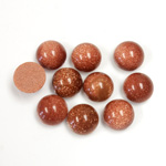 Man-made Cabochon - Round 08MM BROWN GOLDSTONE