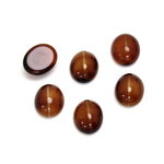 Glass Medium Dome Cabochon - Oval 10x8MM CAT'S EYE BROWNHORN