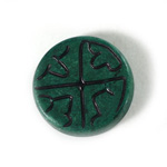 Plastic Flat Back Engraved Cabochon - Round 28MM INDOCHINE TEAL