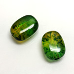 Plastic Bead - Two Tone Speckle Color Flat Keg 19x14MM GREEN YELLOW