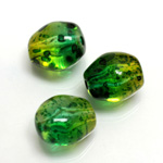 Plastic Bead - Two Tone Speckle Color Baroque 17x15MM GREEN YELLOW
