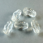 Plastic Bead -  Faceted Fancy Stone 15x7MM CRYSTAL