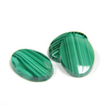 Gemstone Flat Back Single Bevel Buff Top Stone - Oval 18x13MM MALACHITE