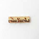 Brass Machine Made Engraved Pierced Bead - Tube 20x6MM ROSE GOLD