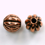 Metalized Plastic Bead - Melon Round 14MM ANT COPPER