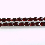 Czech Glass Fire Polish Bead - Oval 06x4MM GARNET