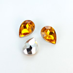Plastic Point Back Foiled Stone - Pear 14x10MM TOPAZ