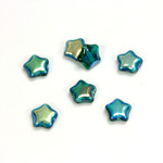 Czech Pressed Glass Bead - Star 08MM EMERALD AB