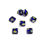 Czech Pressed Glass Bead - Smooth Flat Square 06x6MM PEACOCK COBALT