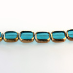Glass Fire Polished Table Cut Window Bead - Cushion Antique 12x8MM AQUA with METALLIC COATING
