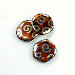 Czech Pressed Glass Bead - Smooth Flat Coin 19MM PEACOCK MADEIRA TOPAZ