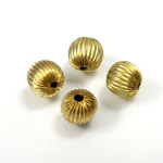 Brass Corrugated Bead - Round 11MM RAW