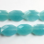 Gemstone Bead - Faceted Octagon 18x13MM Dyed QUARTZ Col. 30 AQUA