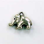 Metalized Plastic Pendant- Elephant 20x15MM ANT SILVER