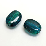 Plastic Bead - Two Tone Speckle Color Flat Keg 19x14MM BLUE GREEN
