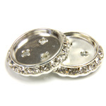 Czech Rhinestone Rondelle Shrag Flat Back Setting - Round 25MM outside w 18mm Recess CRYSTAL-SILVER