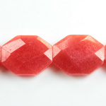 Gemstone Bead - Faceted Octagon 25x20MM Dyed QUARTZ Col. 44 RED