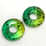 Plastic Bead - Two Tone Speckle Color Smooth Flat Donut 25MM GREEN YELLOW
