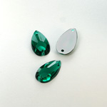 Plastic Flat Back 2-Hole Foiled Sew-On Stone - Pear 16x9MM EMERALD
