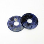 Gemstone Bead - Donut Round Smooth 35MM BLUE SODALITE