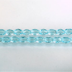 Czech Glass Fire Polish Bead - Oval 06x4MM AQUA