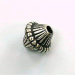 Metalized Plastic Bead - Ribbed Bicone 19x16MM ANT SILVER