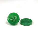 Glass Flat Back Intaglio - Warrior Head Round 15MM  CHRYSOPHRASE Left Facing
