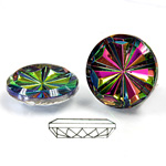 Glass Flat Back Pinwheel Round 18MM VITRAIL MEDIUM (IRIDIS)