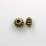Metalized Plastic Bead - Ribbed Spacer 08MM ANT GOLD