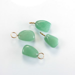 Gemstone Tumble Polished Pendant with Brass Ring - Small AVENTURINE GREEN