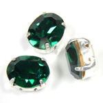 Crystal Stone in Metal Sew-On Setting - Oval 10x8MM EMERALD-SILVER