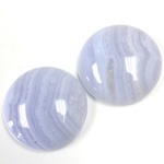 Gemstone Cabochon - Round 25MM BLUE LACE AGATE