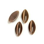 Fiber-Optic Cabochon - Navette 15x7MM CAT'S EYE BROWN