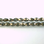 Czech Glass Fire Polish Bead - Oval 06x4MM LUMI COATED TAUPE
