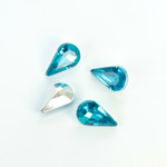 Plastic Point Back Foiled Stone - Pear 13x8MM AQUA