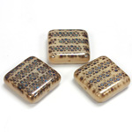 Czech Pressed Glass Bead - Smooth Flat Square 18x18MM PATTERN on BROWN