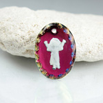 German Glass Engraved Buff Top Intaglio Pendant - EL DIVINO NINO Oval 18x13MM HELIO RED WHITE