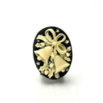 Plastic Cameo - Christmas Bells Oval 25x18MM IVORY ON BLACK