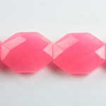 Gemstone Bead - Faceted Octagon 25x20MM Dyed QUARTZ Col. 27 ROSE