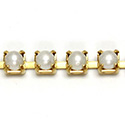 Czech Pearl Cup Chain SS18 WHITE PEARL-BRASS