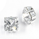 Crystal Stone in Metal Sew-On Setting - Square 08x8MM CRYSTAL-SILVER