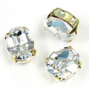 Crystal Stone in Metal Sew-On Setting - Oval 10x8MM CRYSTAL-GOLD
