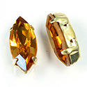 Crystal Stone in Metal Sew-On Setting - Navette 15x7MM TOPAZ-GOLD