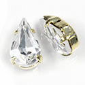 Crystal Stone in Metal Sew-On Setting - Pear 13x7.8MM CRYSTAL-GOLD
