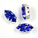 Crystal Stone in Metal Sew-On Setting - Navette 10x5MM SAPPHIRE-SILVER