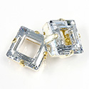 Czech Crystal Stone in Metal Sew-On Setting - MC Square Ring 14MM CRYSTAL-RAW