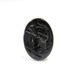 Glass Flat Back Intaglio - Warrior Head Oval 25x18MM JET Left Facing