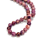 Gemstone Bead - Smooth Round 08MM SEA SEDIMENT JASPER DYED PURPLE
