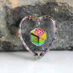 German Glass Engraved Buff Top Intaglio Pendant - Dice Heart 20x18MM CRYSTAL HELIO RED