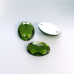 Plastic Flat Back 2-Hole Foiled Sew-On Stone - Oval 18x13MM OLIVINE